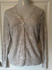 Womens Gap Button Down Paisley Sweater Cardigan Brown And White Sz Large L