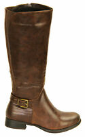 RJ06 NEW WOMENS LADIES MID WIDE CALF UNDER KNEE BIKER RIDING ZIP UP BOOTS SHOES.