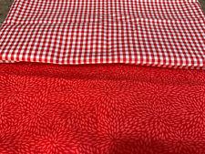 18x44 EA 2 Half Yards 100% Cotton Quilt Fabric Poppy Red Burst Small Check Plaid