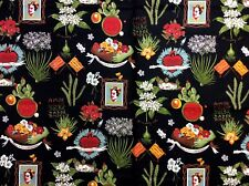 AH268 Frida Kahlo Viva Frida Mexico Folk Art Diego Rivera Cotton Quilt Fabric