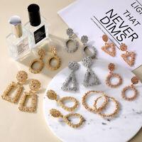 Elegant Women Metal Square Geometric Drop Dangle Stud Earrings Wedding Jewelry