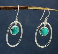Turquoise Gemstone Daily Wear Wife Gift Drop Earring Solid 925 Sterling Silver
