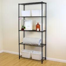 5 Tier Black Metal Storage Rack/Shelving Wire Shelf Kitchen/Office Unit 200cm