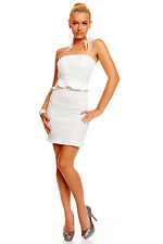 Strapless Structured Bandeau with Glittering Sequins Party Mini Dress White