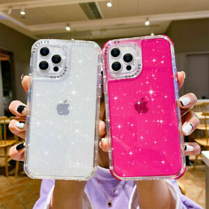 For iPhone 13 12 Pro Max XS XR 7 8Plus Bling Hard back hard silicon back case