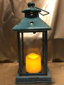 Ceramic Turquoise Night Lantern With Faux Candle