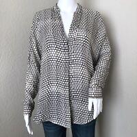 Vince Women's Blouse Size Small 100% Silk Black White Ladder Print Casual