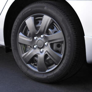 """16"""" 4 PC Matte Black Snap-On Hubcaps Premium ABS Replacement Wheel Rim Covers"""