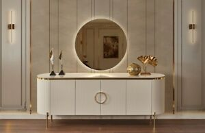White &Gold Console/Sideboard With LED Mirror Perla