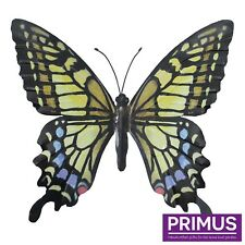 Primus Hand Finished Large Yellow Blue Metal Butterfly Garden Wall Art Ornament