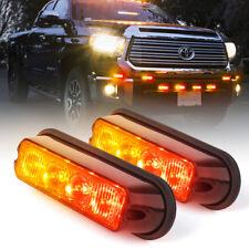 Red Amber 4 LED Vehicle Emergency Strobe Deck Dash Grille Hazard Flash Light 2Pc