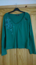 Mexx Green Long Sleeve Print Studs & Rhinestones Casual Jersey Top XXL (18)