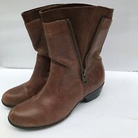 Born Brown Leather & Suede Inside Outside Zipper Mid Calf Boots Women's Size 11