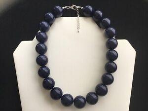 Women's Chunky Navy Blue Bead Choker Necklace