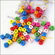50Pcs Mixed Craft Wooden Smooth Square Letters Spacer Beads Charms 10mm