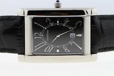 Tourneau Stainless Steel Black Leather Band Rectangular 28x35mm Men's Watch NEW