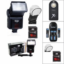 PRO VIVITAR FLASH + REMOTE + CHARGER + BATTERIES + 16GB  FOR NIKON D3400 D5600