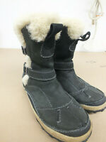 MERRELL Taiga Buckle Waterproof Winter Boots Womens Size 8.5 LEATHER Black