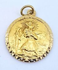 9k St Christopher Pendant Charm_375 yellow gold_Hallmarked