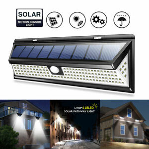 30/118/180 LED Solar PIR Motion Sensor Wall Lights Outdoor Garden Security Lamp