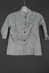 VINTAGE CHILD DEADSTOCK 1940'S-50'S FRENCH DARK GREY COTTON WORK JACKET SIZE 3-4