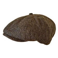 Toskatok Unisex Mens Ladies 8 Panel Herringbone Tweed Wool Blend Baker Boy Hat