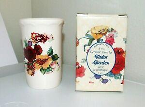 "Vintage 1988 Potpourri Press ""Tudor Garden"" Ceramic Bathroom Tumbler NWT"
