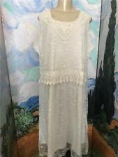 Woman Within Plus 1X New Ivory Mesh Floral Overlay Crochet Sleeveless Dress