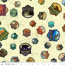 National Parks Patches Cream  Riley Blake Quilt Fabric BY THE 1/2 YD #C8782