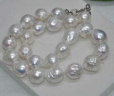 AAA 15X23MM REAL HUGE SOUTH SEA WHITE BAROQUE PEARL NECKLACE 18''