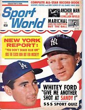 1964 (Aug.) Sport World, Baseball, magazine, Sandy Koufax, Dodgers, Whitey Ford