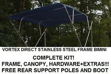 """New listing New Navy Blue Vortex Stainless Steel Frame Bimini Top 10 Ft Long, 97-103"""" Wide"""