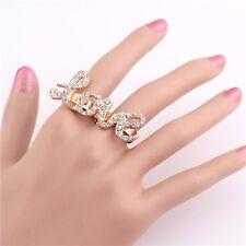 New Nice Charm Hot Rhinestone Crystal Love Two Fingers Rings Adjustable