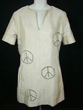 Philipp Plein Couture Crystal Rhinestone Studded Cream Peace Sign Freedom Dress