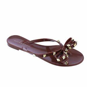 NEW Liliana Jelli-40 Brown Studded Bow Jelly PVC Sandal