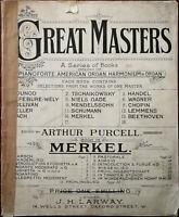 Großartiges Masters Buch 14 Merkel Klavier, Orgel, Harmonium Pub. Frühe 1900' S