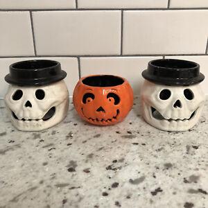 Slatkin Signed Bath & Body Works 2011 Skeleton Pumpkin Mini Candle Holder Set