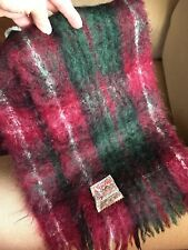 Glen Cree Ltd Vintage Mohair Scarf Scotland Wine/Grn/Ivory/ Blk Galloway for Oo