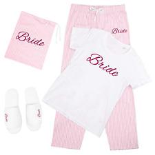 Pink Wedding T-Shirt & Trousers Pyjamas Set Hen Do Party Bride To Be Bridesmaid