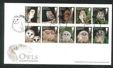 2018 FDC - Owls Set of 10  -Owls Close Cambridge  Postmark sent post free