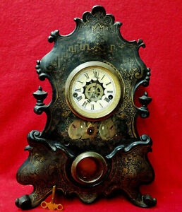 1870 Striking And Alarm Waterbury Iron Front Shelf Clock--Nice Original Stencils