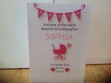 Handmade personalised new baby Girl card - granddaughter, niece, keepsake