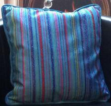 Blue with Multicolour Stripe Design Velour Evans Lichfield Cushion Cover