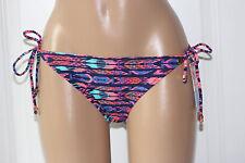 NEW Raisins Navy Multi Cheeky Stringer Tie Side Hipster Bikini Bottom Junior L
