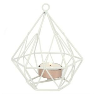 Cute Chic Home White Hanging Lantern Wire Tealight Candle Holder Accessories