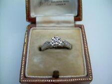 Vintage Unused 9ct White Gold Natural Diamond Engagement Ring Size I 1/2