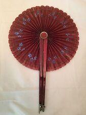 Antique Hand Painted Hand Fan Patent June 1880 Vintage Fragile Floral Print