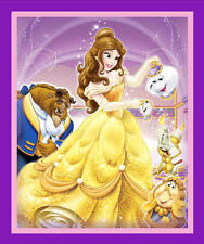 BEAUTY & THE BEAST  BELLE  MRS POTTS  LUMIERE  DISNEY  100% COTTON FABRIC  PANEL
