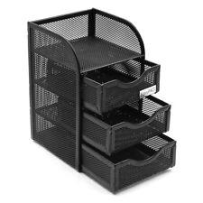 Mesh Desk Organizer Office Accessories Caddy with 3 Drawer, 1 Top Shelf, Black