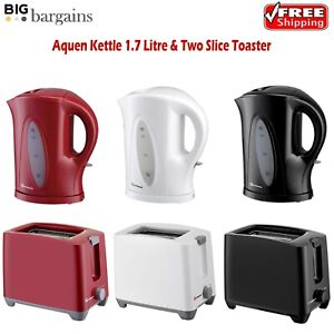 Electric Cordless 1.7L Kettle & Two Slice Toaster Plastic Matching Kitchen Set